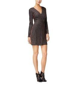 Guess Metallic Wrap Long Sleeve Striped Dress